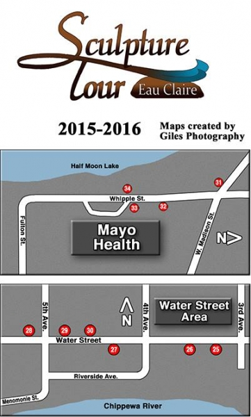 Sculpture Tour Eau Claire 2015 map of sculptures along Water Street and by Mayo Clinic